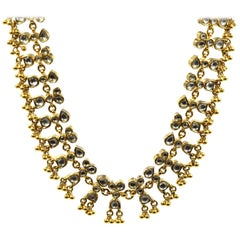 22 Karat Yellow Gold Choker, Indian Style Necklace with Clear Stones, 76.2 Grams