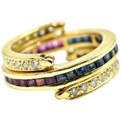 Diamond, Ruby and Sapphire Flip Ring 18 Karat Yellow Gold