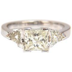 1.63 Carat Natural Princess Cut Diamond Ring 14 Karat Trilliants