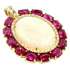 Custom Made 14 Karat Gold 18.56 Carat Opal, 8.46 Carat Ruby and Diamond Pendant