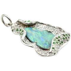 Lightning Ridge Opal, Ruby, Tsavorite and Diamond 14 Karat White Gold Pendant