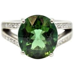 Green Tourmaline and Diamond Ring 14 Karat White Gold