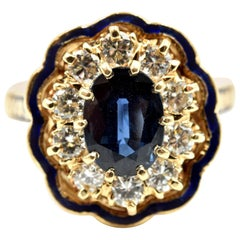 Blue Sapphire with Diamond Halo Cocktail Ring 14 Karat Yellow Gold