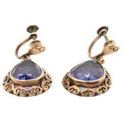 Antique 14 Karat Yellow Gold Pear Cut Amethyst Dangle Earrings, Non-Pierced