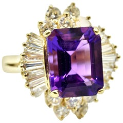 Amethyst and Diamond Halo Fashion Ring 14 Karat Yellow Gold