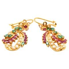 Vintage 22 Karat Gold Emerald, Ruby and Pearl Dangle Earrings, 11.25 Grams