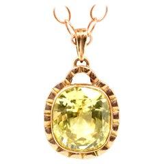 14 Karat Rose Gold and Lemon Quartz Pendant Necklace