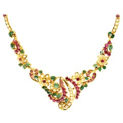 Vintage 22 Karat Yellow Gold Emerald, Ruby and Pearl Necklace