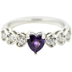 Amethyst and Diamond Ring 18 Karat White Gold
