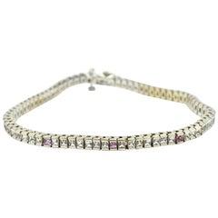 Pink and White Sapphire Tennis Bracelet 14 Karat White Gold
