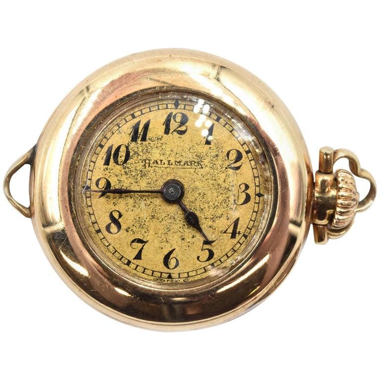 Hallmark yellow gold Vintage mechanical wind Pocket Watch