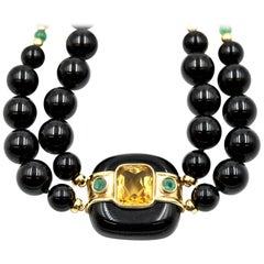 14 Karat Yellow Gold Beaded Black Onyx Necklace with Citrine and Emerald Pendant