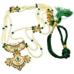 Indian Style 22 Karat Gold Ruby, Emerald, and Pearl Strung Pendant Necklace