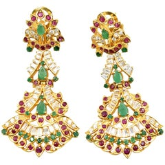 22 Karat Gold Cubic Zirconia, Ruby, Emerald India Style Omega Back Earrings