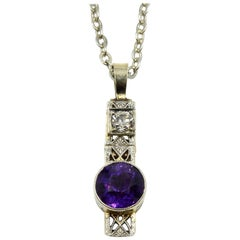 Diamond and Amethyst 14 Karat White Gold Pendant on Sterling Silver Chain