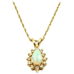 Mystic Opal Gemstone with Diamond Halo Pendant Necklace 14 Karat Yellow Gold