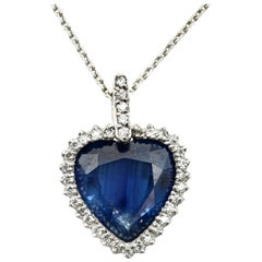 Heart Cut Sapphire and Diamond Halo Pendant 14 Karat White Gold