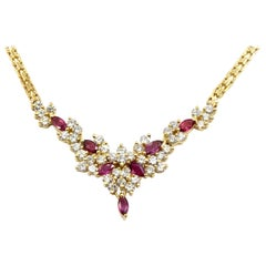 2.82 Carat Round Brilliant Cut Diamond and Ruby Necklace 14 Karat Yellow Gold