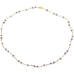 Amethyst and Pearl Necklace 18 Karat Yellow Gold