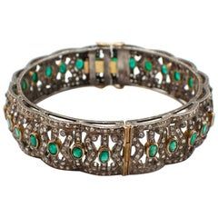 Silver and Gold Diamond and Emerald Bangle Bracelet