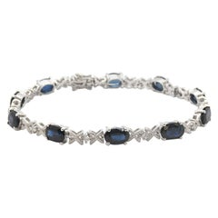 "14 Karat Gold 5.00 Carat Sapphire and 0.22 Carat Diamond ""X"" Style Bracelet"