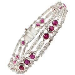18 Karat White Gold, 2.72 Carat Diamond and 5.0 Carat Ruby Bracelet