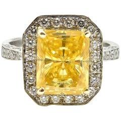 6.57 Carat Simulated Yellow Center Diamond 18 Karat White Gold Diamond Ring