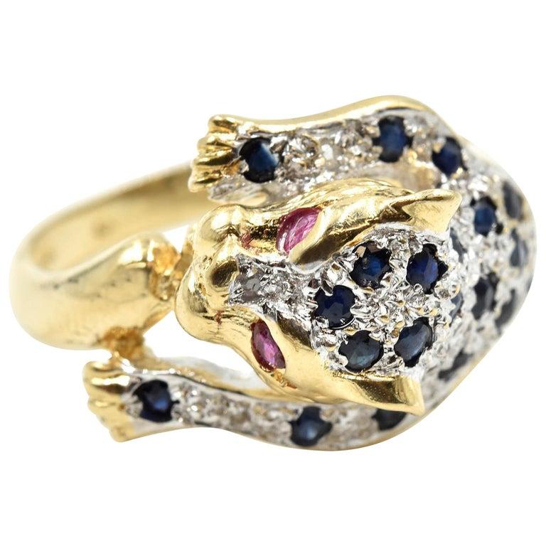 Sapphire and Ruby Panther Fashion Ring 14 Karat Yellow Gold