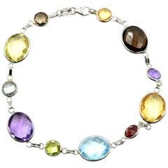 Amethyst, Peridot, Topaz, Garnet, Brown Topaz and Citrine Multi-Shape Bracelet