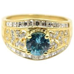 Blue Zircon and Diamond Ring 18 Karat Yellow Gold