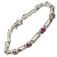 Diamond and Lab Created Ruby Bracelet 14 Karat White Gold