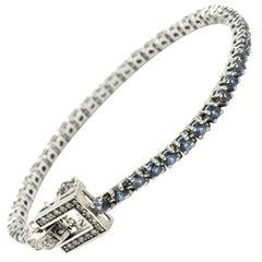 0.75 Carat Diamond and Sapphire Bracelet 14 Karat White Gold