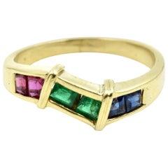 Pink Tourmaline, Emerald and Sapphire Band 14 Karat Yellow Gold
