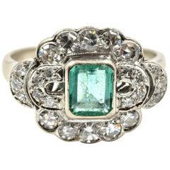 0.50 Carat Emerald and Diamond Ring 14 Karat White Gold