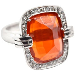 Mexican Fire Opal and Diamond Cocktail Ring 14 Karat White Gold