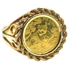 1/2 Panda Coin Ring 14 Karat Yellow Gold
