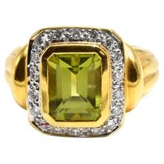 Cushion Cut Peridot and Diamond Ring 18 Karat Yellow Gold