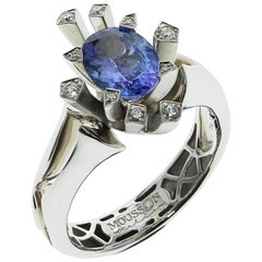 Tanzanite Diamonds 18 Karat White Gold Snowflake Ring