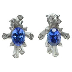 Tanzanite Diamonds 18 Karat White Gold Snowflake Earrings