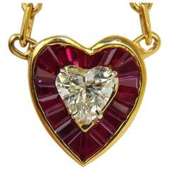 2.36 Carat Natural Brilliant Heart Diamond Gem Ruby Pendant 14 Karat Custom