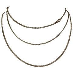 Alberto Juan 18 Karat Gold Handmade Muff Chain Link Flapper Necklace