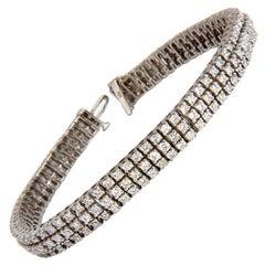 5.50 Carat Natural Round Brilliant Diamonds Three Row Tennis Bracelet 14 Karat
