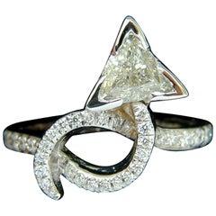 1.56 Carat Trilliant Diamond Crossover Ring Modern Era 14 Karat