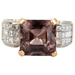 GIA Certified 10.70 Carat Natural Purple Tourmaline Diamonds Ring Platinum