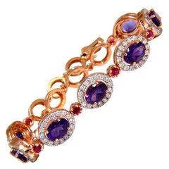 6.46 Carat Natural Amethyst Ruby Diamonds Halo Bracelet 14 Karat