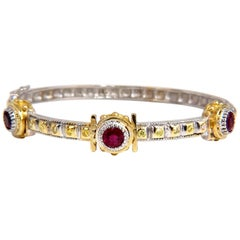 2.23 Natural Ruby Yellow Diamond Bangle Bracelet 14 Karat Spanish / Gothic Deco