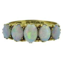 Antique Edwardian Opal Ring, Cabochon Cut, Birmingham, 1902, 18 Karat Gold