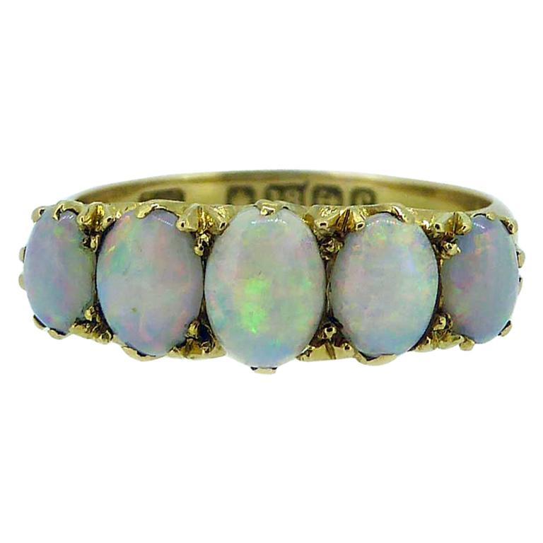 Antique Edwardian Opal Ring, Cabochon Cut, Birmingham, 1902, 18 Karat Gold For Sale