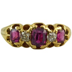 Antique Ruby Diamond Ring, circa 1873