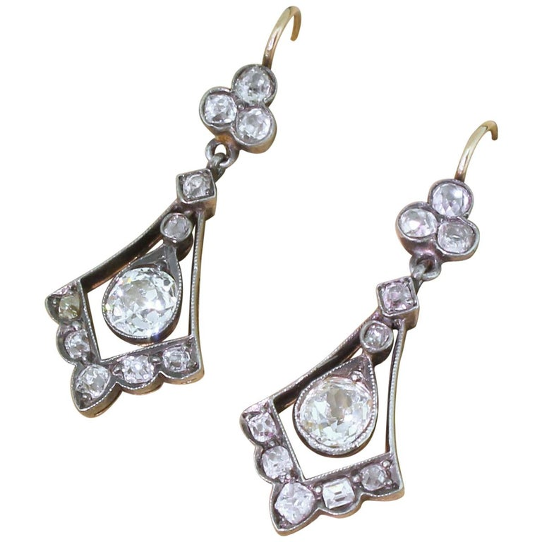 Victorian 2.64 Carat Old Cut Diamond Drop Earrings For Sale